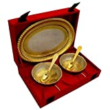 Cameo Brass Silver And Gold Plated Floral Shaped Brass Bowl And Tray Set - B07BGYBPWG