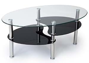 Table de salon Pithana ovale avec verre noir pailleté