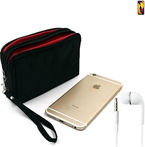 K-S-Trade TOP Set für Huawei P20 Lite Dual-SIM Gürteltasche schwarz + Kopfhörer Travel Bag Travel-Case mit Diebstahlschutz praktische Schutz-Hülle Schutz Tasche Outdoor-case für Huawei P20 Lit
