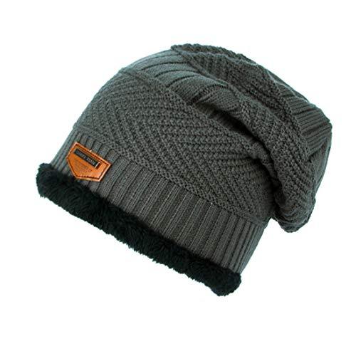 VJUKUB Winter Warm Knitting Hats Baggy Slouchy Beanie Hut Cuffed Plain Beanie Warm Winter Knit Hats Unisex Watch Cap Skull Cap,Gray Winter Watch Cap