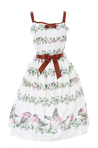 JSK-26-1 Creme Weiß Blumen Vögel Sweet Birds Pastel Goth Lolita Kleid Cosplay Kostüm Harajuku -