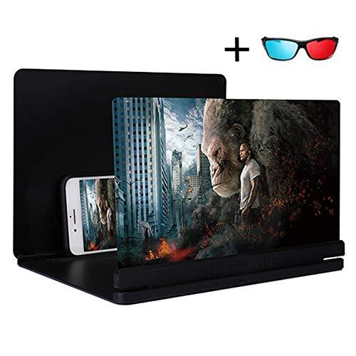 Aishankra 3D Handy Lupe,14 Zoll HD Strahlenschutz Bildschirmlupe Für Telefon Faltbarer Halterstand Mobiltelefone Bildschirm Verstärker Ultra Dünner Wie Heimkino Anwendbar Alle 5\'\'-7\'\' Smartphones (A)
