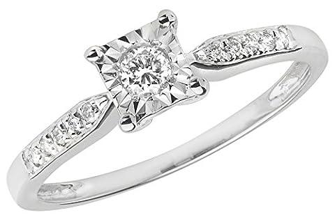 Bague Solitaire Or Blanc 375/1000 et Diamant Brillant 0.16 Carat H - I1 I2