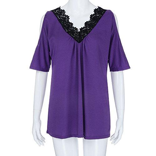 COOKDATE Damen Tops Plus Size Blusen Shirt Bluse Fashion Womens Plus Size Lace Trim V Neck Cold Shoulder Strapless Tops Blouse Damen T-Shirt Spitze Shirt Spitze Shirt Lila 5XL