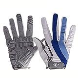 Radfahren Fahrräder für Männer und Frauen Reiten All-Finger-Handschuhe Mountainbikes/Herbst und Winter lange Finger blau und weiße Handschuhe (größe : L)