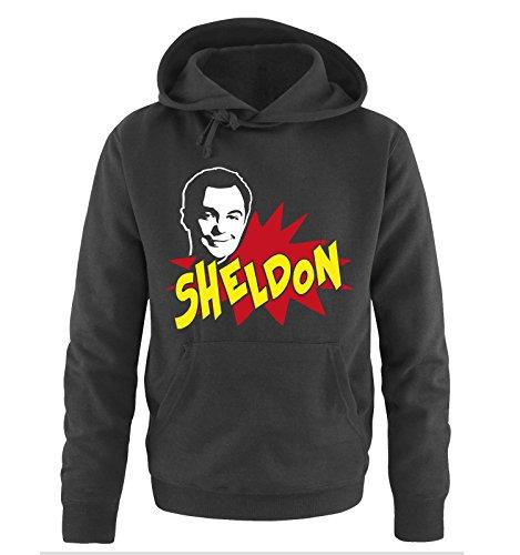 THE BIG BANG THEORY - Sheldon Cooper -Herren Hoodie in Schwarz/Weiss-Rot-Gelb Gr. L