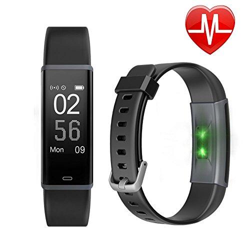 Schrittzähler Uhr, Letsfit Fitness Tracker mit Pulsmesser Schlaf-Monitor Wasserabweisend in versch. Farben, Schwarz