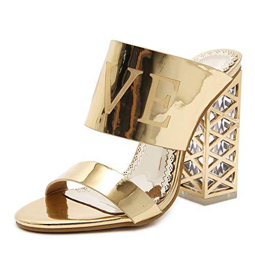 Shengjuanfeng Doppelte Bänder Sandalen für Frauen Transparent High Chunky Heel Cage Form Slide Slippers Patent Kunstleder (Color : Gold, Size : 36 EU) -