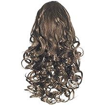 Extensiones de cabello - Amor NHWM/RIZADO/DS4 - Fibras sintéticas premium - Cable rizado correderas - Queue de Cheval - 4 color - Brown Castaño