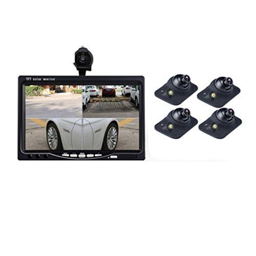 ABBY AFENG Dashcam 7Zoll 1080P HD Dual Lens IPS-Touchscreen 170 ° Weitwinkel Rückspiegel, Spiegel mit Parkplatz-Monitor, G-Sensor, Loop-Aufnahme,4Sensorcarcamera (Infrarot-konvertierung)