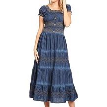 Sakkas Ode Frauen Boho Maxi Chambray beiläufiges langes Kleid Kurzarm aus  der Schulter 0eedfbd621