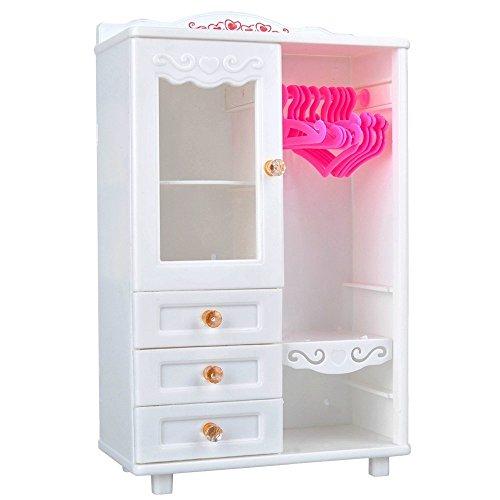 Lanlan Juguetes Creativos, Accesorios de muebles de plástico para la decoración de casa de muñecas (perchas armario + 10pcs)