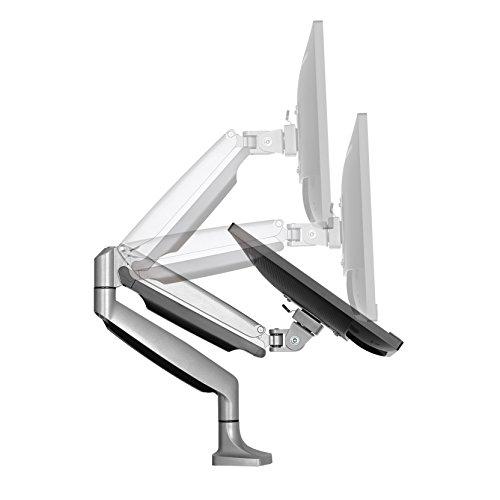 SAVONGA PROFESSIONAL Monitorhalterung #202L mit Gasdruckfeder, geeignet 13 bis 27 Zoll LED LCD Monitore wie Acer DELL Samsung LG, VESA 75x75, 100x100, Belastbarkeit bis 9 kg, NEIGBAR SCHWENKBAR HÖHENVERSTLLBAR in Silber