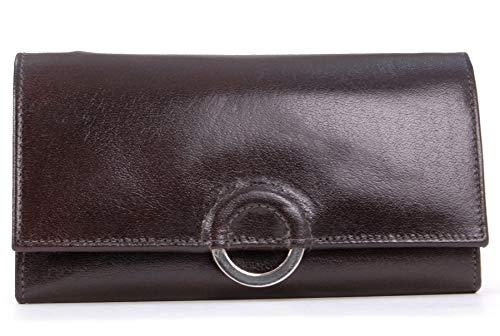 Catwalk Collection Handbags - Vera Pelle - Borsellino/Portafoglio/Portamonete da Donna - RFID Protezione - Scatola Regalo - Odette - MARRONE - RFID