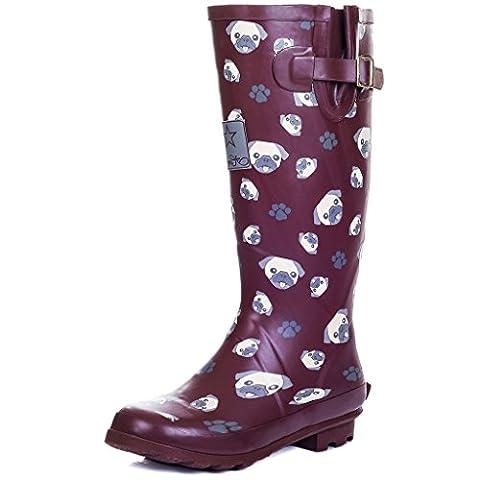 Knee High Flat Festival Wellies Rain Boots Red Pug Sz 5