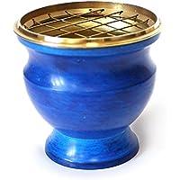 Räucherschale Räuchergefäß mit Netz Ø 8 cm x 7,5 cm aus Messing emailliert blau, Netzgefäß für Räucherkohle Räucherkegel... preisvergleich bei billige-tabletten.eu