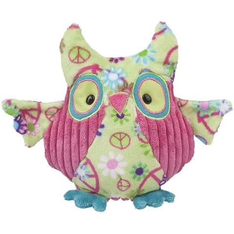 Douglas Cuddle Toys-Logan 33,02 (13 cm con simbolo della pace, motivo: gufo, colore: verde - Owl Pace