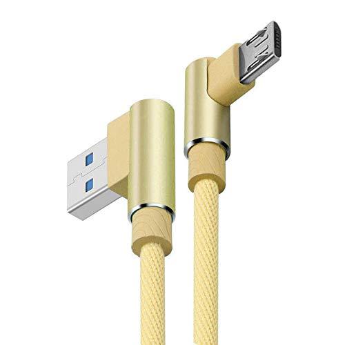 Galaxy SuperStore Micro USB Ladekabel übertragen Starkes 90 Grad Stecker Kabel 1M für ZTE Blade V8 Lite/Mini / V8C / V9 / V8Q / Vantage/Velocity / A610 Plus/Fanfare 3 / Libero 2 / Majesty Pro - Gold V9 Micro Usb