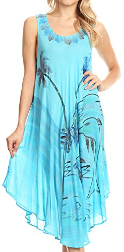 41pF31t4QwL - Sakkas Valentina Summer Light Cover-up Caftan Dress con stampa tropicale