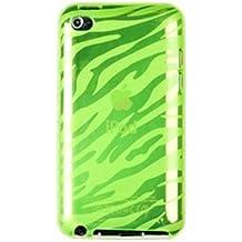 SODIAL(R) Funda TPU Flexible para Apple iPod Touch 4G (Cuarta Generacion), Diseno de Cebra Verde