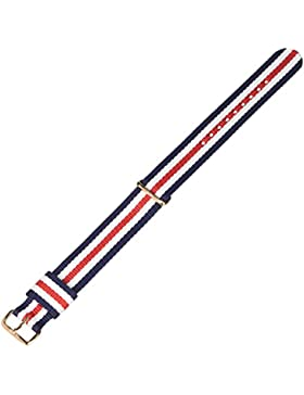 Daniel Wellington Damen Uhren-Armband Classic Canterbury Natostrap blau rot weiss Schliesse roségold DW00200030