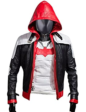 Leatherly Chaqueta de hombre Jason Todd Arkham Knight Batman Hooded Chaqueta