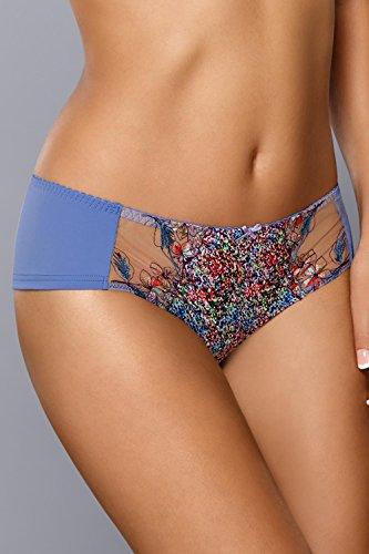 Gaia 647S Maddie Shorts Dame Dessous Gemustert Stickerei Normaler Bund Setteil EU Blau-Mehrfarbig