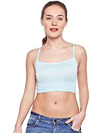 CAMEY Women's Girl's Cotton Short Spaghetti Tank Top Slips Under Dress (GS12_Blue)