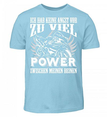 Hochwertiges Kinder T-Shirt - Motorrad Shirt · Geschenkidee für Superbike-Fahrer · Biker Aufdruck Motiv/Spruch · Verschiedene Farben Himmelblau