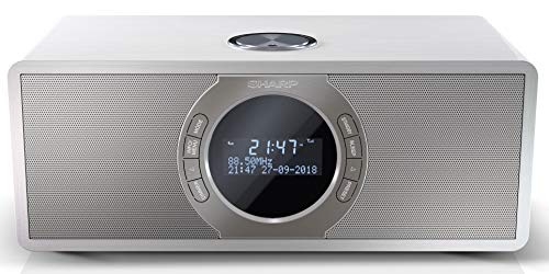 SHARP DR-S460(WH) Radio numérique stéréo avec Dab/Dab+/FM, Bluetooth 4.2, Fonction d'alarme/Sommeil et Snooze en Bois Blanc