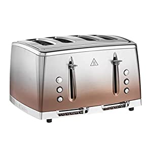 Russell Hobbs 25143 Eclipse Polished Stainless Steel and Copper Sunset Ombre Four Slice Toaster,