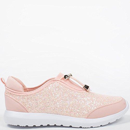 Ideal Shoes - Baskets bi-matière avec partie effet pailletée Salia Rose