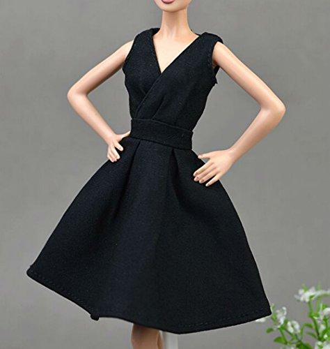 AK20 Schöne und modische Handgefertigte Puppe Kleidung für Barbie Puppen/kleid/Pyjama/Puppenzubehör Dress Up/Spitzenkleid (schwarz 2)