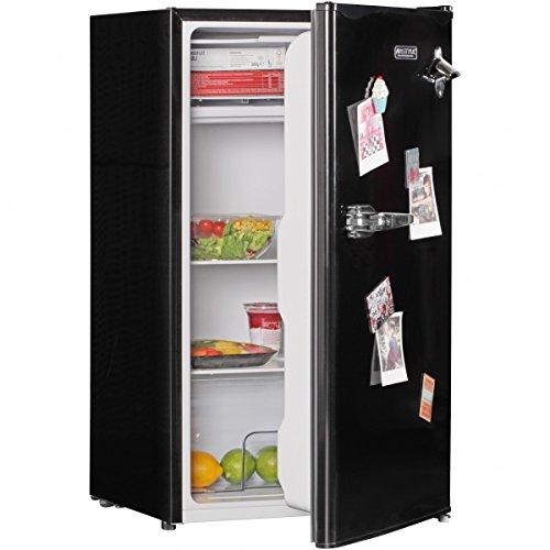 AMSTYLE Design Retro Minikühlschrank 95L schwarz A+ mit Gefrierfach Türanschlag wechselbar | Kühlschrank freistehend mit Stufenloser Temperatureinstellung | Party-Kühlschrank mit Flaschenöffner