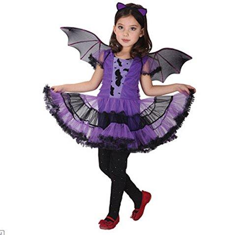 Halloween Cosplay Karneval Fasching verkleiden Kostüme Lila Batgirl mit Fledermausflügel und Bat Ohrstirnband (Kostüme Cosplay Batgirl)