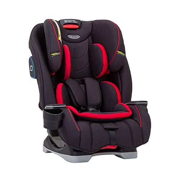 Graco SlimFit All-in-One Car Seat, Group 0+/1/2/3, Fiery Red Graco 3 in 1 car seat can be used from birth up to 36 kg (approximately 12 years). rearward facing for longer from birth to approx. 4 years (0-18kg) Easily converts to and from the three riding positions; rear-facing harnessed seat (0-18kg), to forward-facing harnessed seat (9-18kg) and to high back booster (15-36kg) True shield safety surround side impact protection for enhanced safety 2