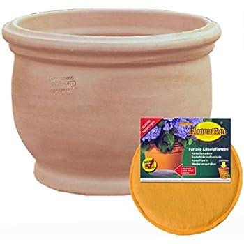 Spar Set: Keramik Pflanz-Topf mit Flower-Pad Drainage Blumen-Kübel frost-sicher rund Ø 30 x 23 cm Farbe terrakotta Form 040.030.53 für Außen und Innen-Bereich