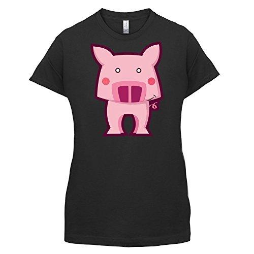 Cute Pig - Damen T-Shirt - 14 Farben Schwarz