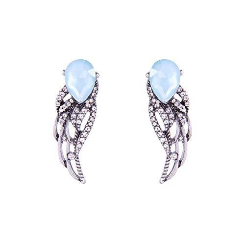 Qingsun Damen Ohrringe Ohrstecker Ohrschmuck Engelsflügel Mode Farbe Silber (1 Paar)