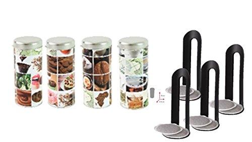 4x Kaffeepaddose, dekorative Vorratsdosen mit verschiedenen Dekoren
