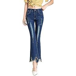GZYD Jeans Femme Coupe Slim Taille Haute Jean en Corne Tout Droit Bavure Force élastique Micro Corne Usé Lavé Mode Svelte Jean Polyvalent Femme,31