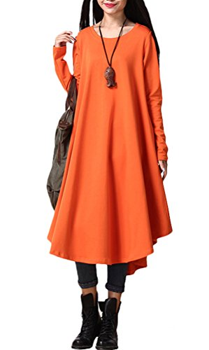 Vogstyle Damen Neue Herbst Rundhalsausschnitt Large Hem Pullover Kleid (Holloween Kleider)