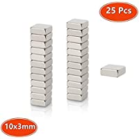Neodymium Magnets, Strong N45 Grade Mini Craft Square Magnets 10 x 10 x 3mm, for Fridge Whiteboard Magnetic Mag, Neo Neodymium Rare Earth 25pcs