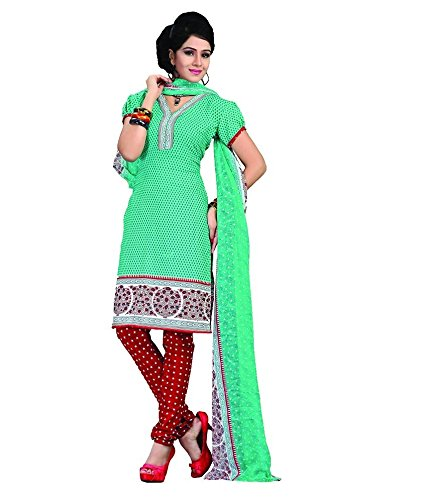 Vineberi Elegant And Gorgeous Unstitched Printed Crepe Green Salwar Suit Dress Material  available at amazon for Rs.399
