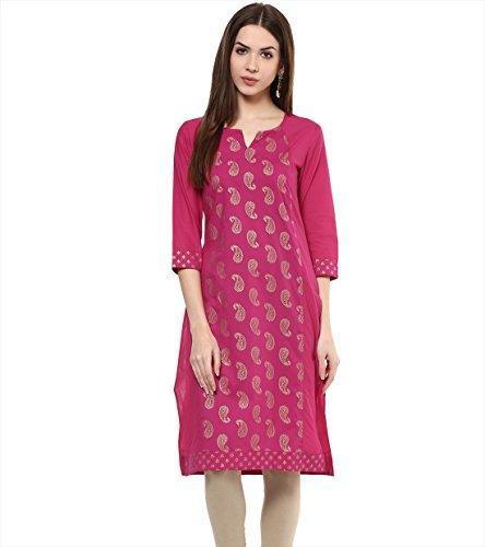 M&D Women's Cotton Kurti (MD127-PinkGold-MorePrint-M_Pink_Medium)