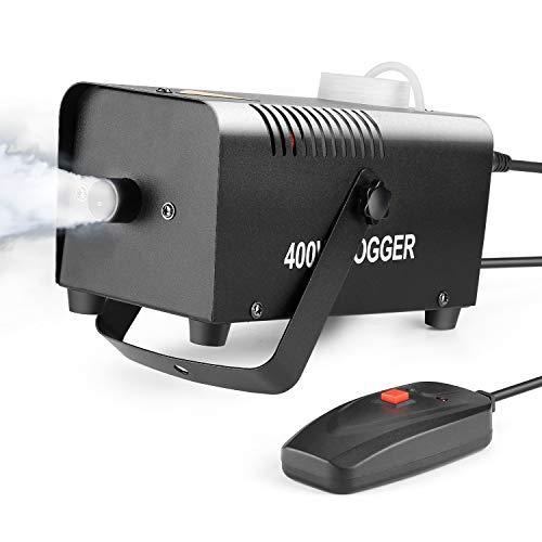 K Nebel Maschine mit verkabelter Fernbedienung 400 WATT Stabil & Tragbar, Passend für Halloween, Weihnachten, Hochzeitsfeiern & Bühnenauftritte usw -