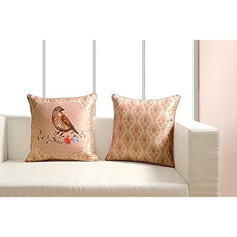 Stampa digitale dai colori vivaci, Uccelli tema Cuscino Cover 45,7x 45,7cm Set di 2reversibile, in seta sintetica