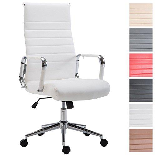 CLP Drehstuhl KOLUMBUS mit Kunstlederbezug I Chefsessel mit stufenloser Sitzhöhenverstellung I Bürosessel mit Laufrollen I erhältlich Weiß