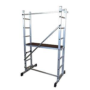 ALTIPESA Escalera – andamio Profesional de Aluminio 2×7 peldaños Multiusos