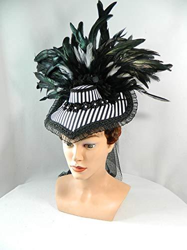 Kostüm Edwardian Damen - Damenhut Schute schwarz weiß Streifen gestreift Viktorianisch Gothic Marie Antoinette Fascinator Kopfschmuck Karneval